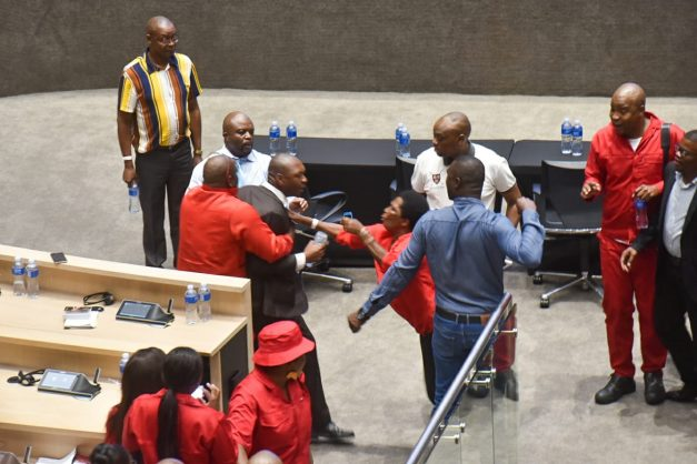 WATCH: Chaos in Tshwane council as ANC, EFF clash with official