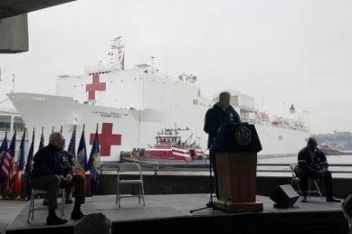 New York welcomes hospital ship as coronavirus accelerates