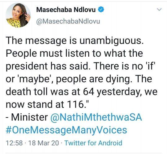masechaba ndlovu corona tweet