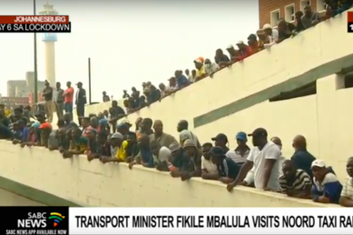 WATCH: Mbalula called an April fool as he speaks to hundreds of people at taxi rank