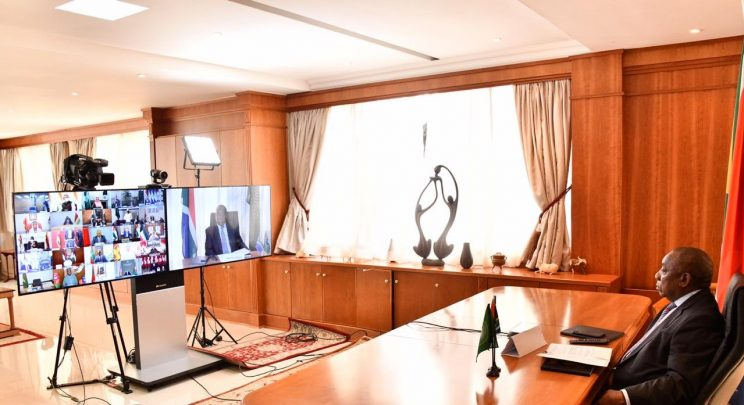 Ramaphosa shows how he holds online meetings from his home