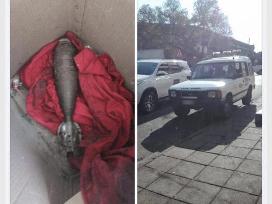 Mortar bomb found at a roadblock