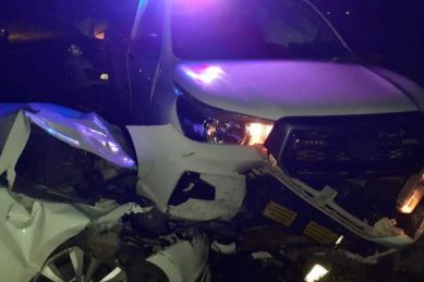 Suspected drunk driver crashes into cop vehicles