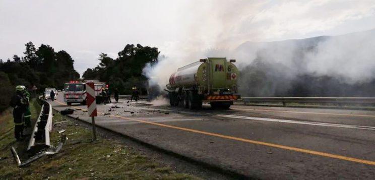 Man dies after running into flaming fuel tanker, after crash