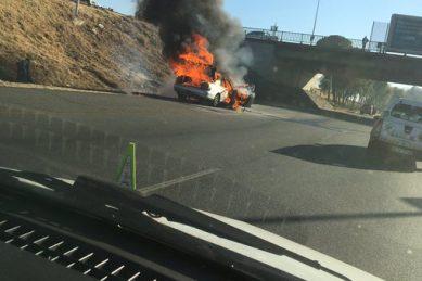 Car engulfed in flames on M1 near Rosebank