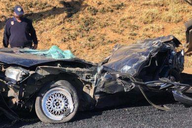 PICS: Three escape death after truck flattens car
