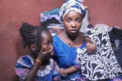 WATCH: Nigerian mom says husband abandoned her and two daughters because of blue eyes