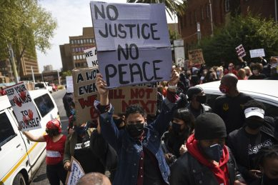 Namibian anti-femicide protesters met with teargas