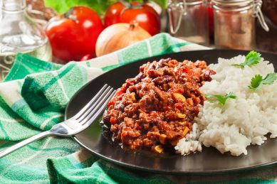Swap the nachos for this chilli con carne recipe with rice