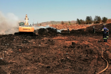 PICS, VIDEO: Smouldering Panorama compost heap could be put out by Saturday