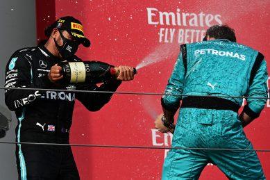Hamilton capitalises on Bottas misfortune to secure record for Mercedes