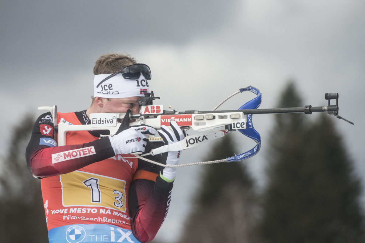 Norway's Tarjei Boe competes at the 4x6 Mixed Relay event at the IBU Biathlon World Cup in Nove Mesto, Czech Republic, on March 14, 2021. - Team Norway won the gold medal ahead the Italy's team (silver) and Sweden's Team took the bronze medal. (Photo by Michal Cizek / AFP)