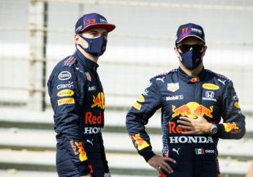 Drivers Max Verstappen and Sergio Perez