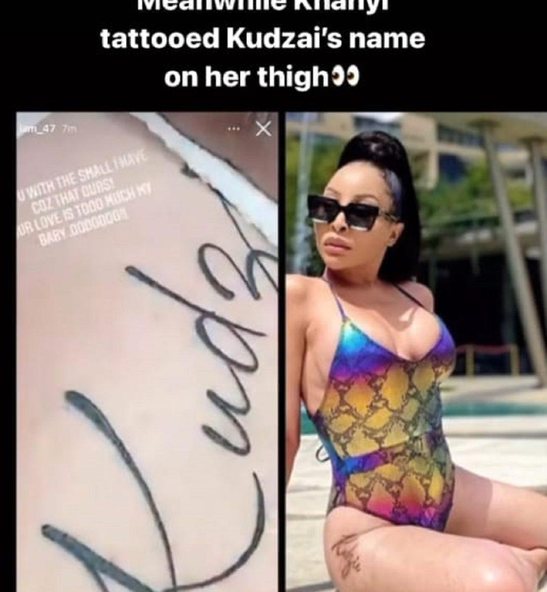 Khanyi Mbau tattoo's Kudzai name