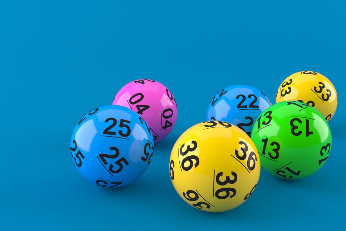 Multi-coloured lottery balls