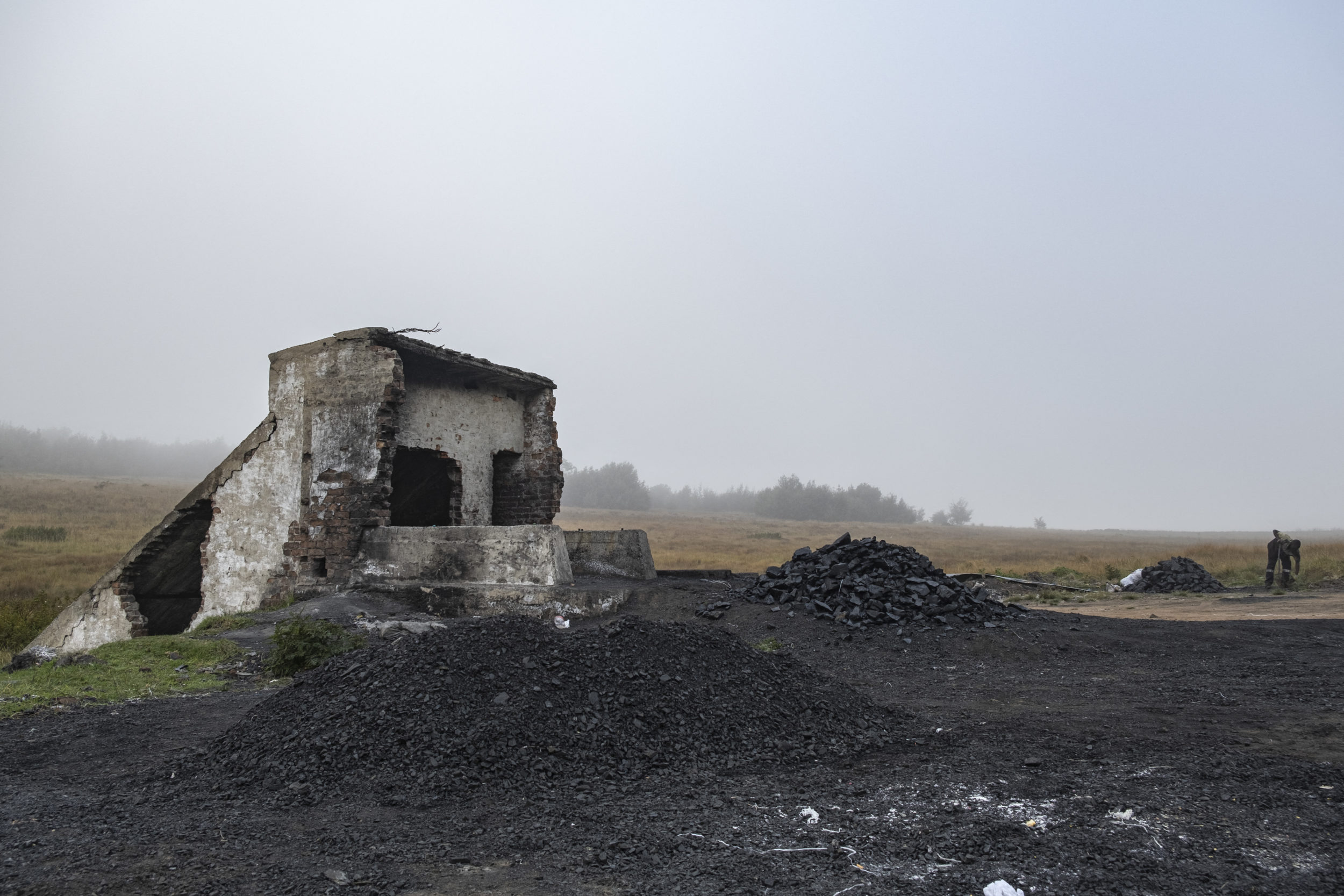A general view of the Goldview coal mine entrance in Ermelo on 21 April 2021. After spending a night underground, breaking off, bagging and lugging coal, Bonginkosi makes a pile of coal at the entrance of the mine before a truck collects the ore for sale. Picture: Emmanuel Croset/AFP