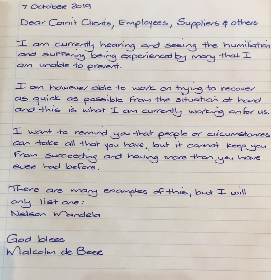De Beer letter to members