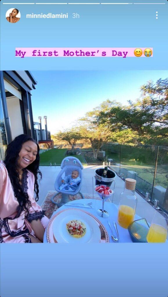 Minnie Dlamini shows her son face on Instagram