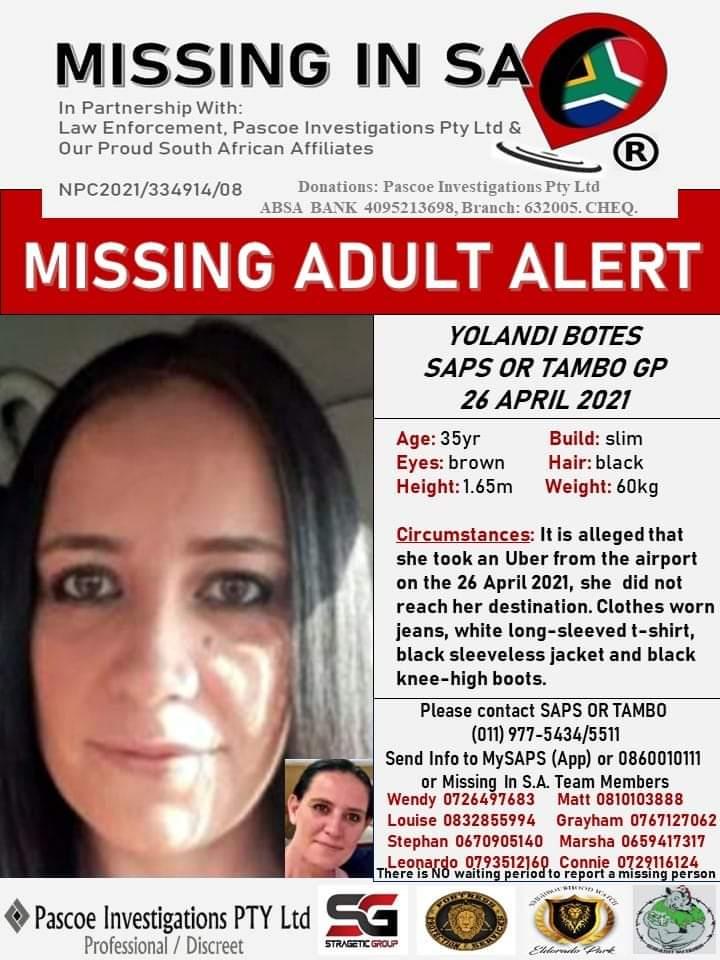 Yolandi Botes missing poster