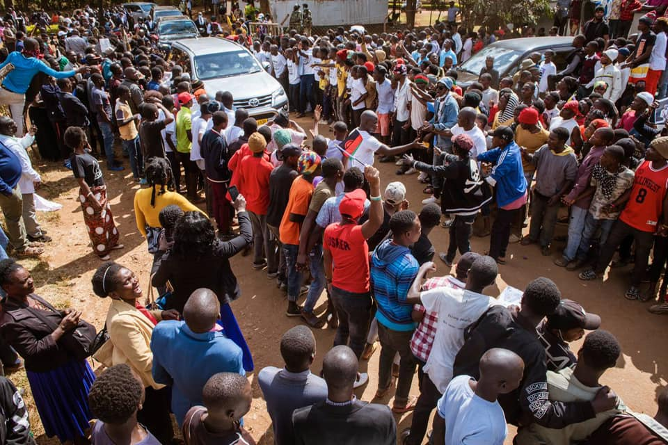 Bushiri supporters outside court in Malawi. Picture: Facebook