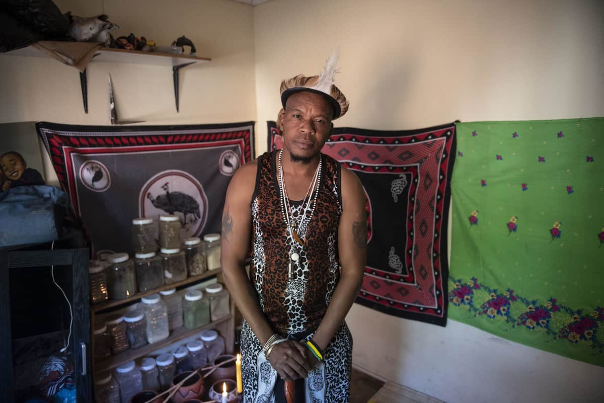 Dr Nkholo Seanego poses for a photograph at his home in The Orchards, Pretoria, 16 June 2021. The doctor is medical doctor as well as a sangoma. Picture: Michel Bega