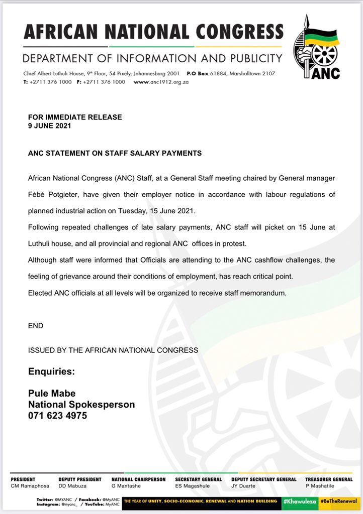 ANC staff plan to picket outside their employers' offices countrywide, after yet another failure to pay their salaries.