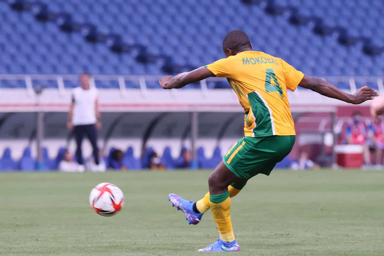 South Africa's midfielder Teboho Mokoena shoots to score the third goal during the Tokyo 2020 Olympic Games men's group A first round football match between France and South Africa at Saitama Stadium in Saitama on July 25, 2021. (Photo by Ayaka Naito / AFP)
