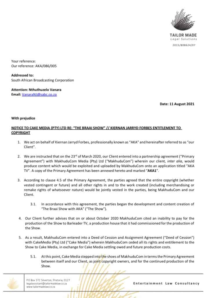 AKA's letter of demand to the SABC