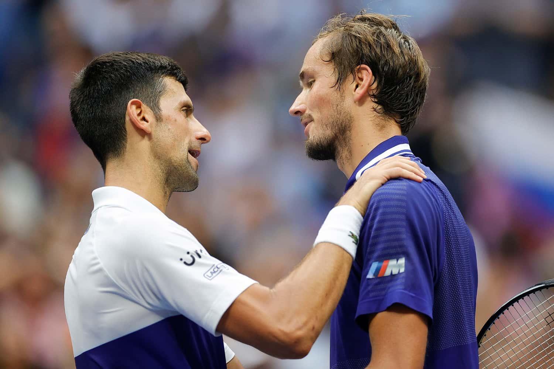 Novak Djokovic (left) and Daniil Medvedev