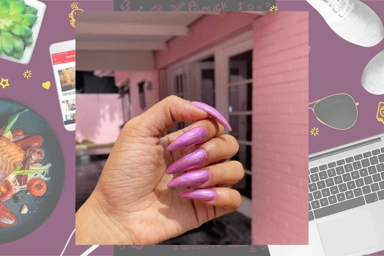 Iridescent pink stiletto-shaped nails