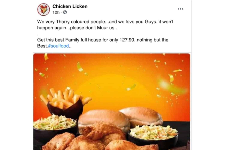 Chicken Licken unamused by fake FB page
