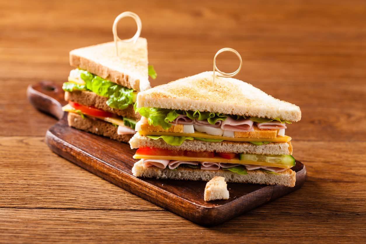 Club sandwich with bacon